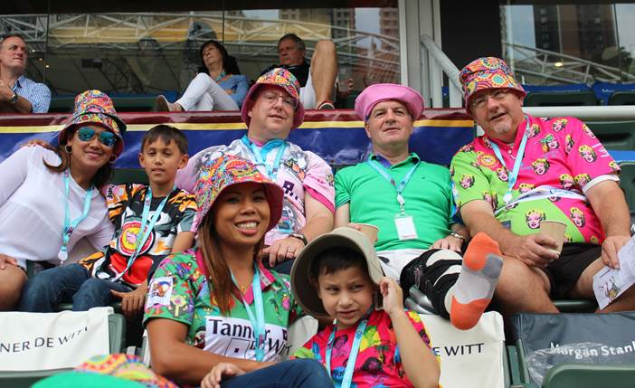 Tanner De Witt Partners Mark Side and Robin Darton with their guests at the 2015 Hong Kong Rugby Sevens