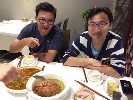 Anthony Marrin and River Stone enjoying local cuisine in Nanjing