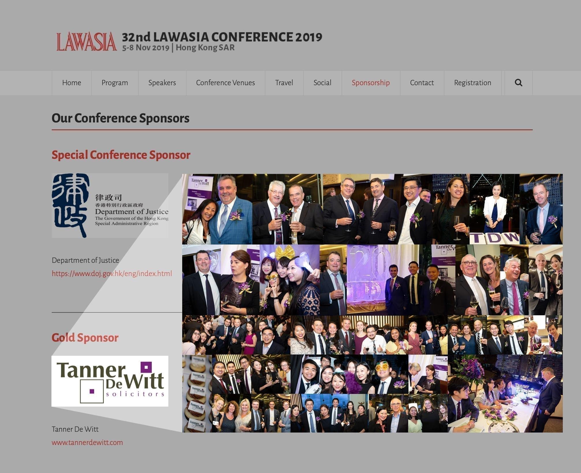 Tanner De Witt is a proud sponsor of LAWASIA 32 in Hong Kong